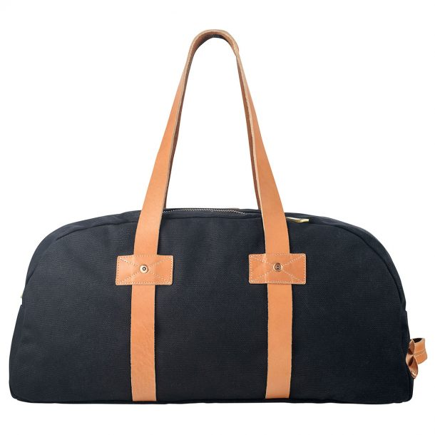 front view of the Status Anxiety Black Fat of Land Travel Bag