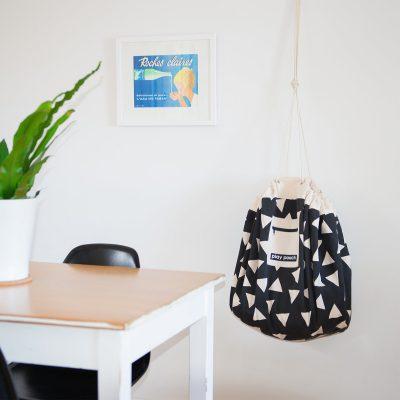 Triangle Pattern Play Pouch hanging on wall