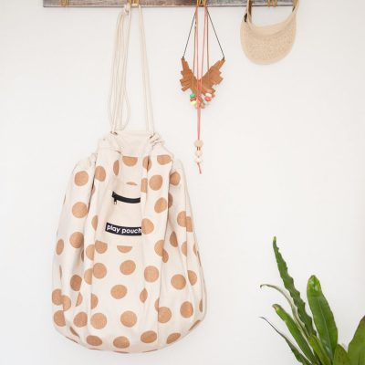 Gold Glitter Dot Play Pouch hanging