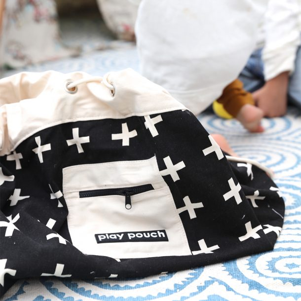 Cross Pattern Play Pouch with kids