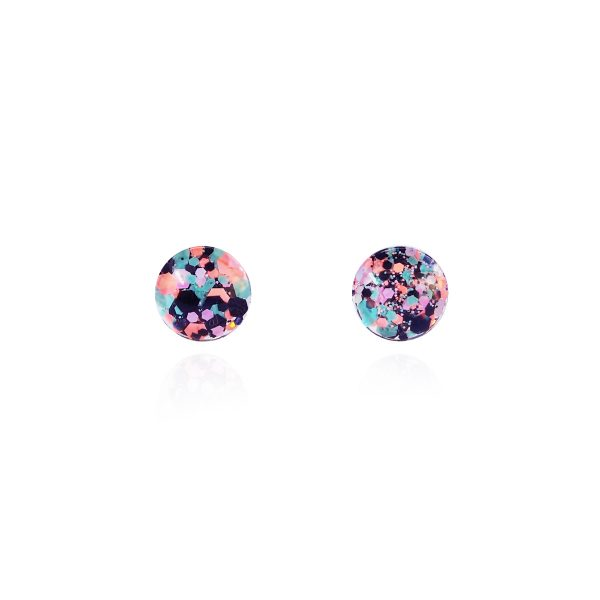 Spider Bait Glitter Glass Stud Earrings