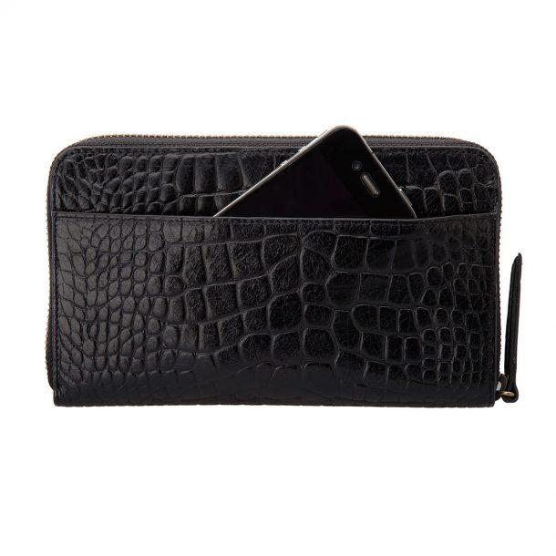Status Anxiety Black Croc Delilah Wallet iphone storage