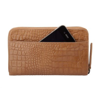 Status Anxiety Tan Croc Delilah Wallet with iphone storage