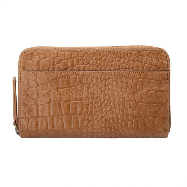 front of the Status Anxiety Tan Croc Delilah Wallet