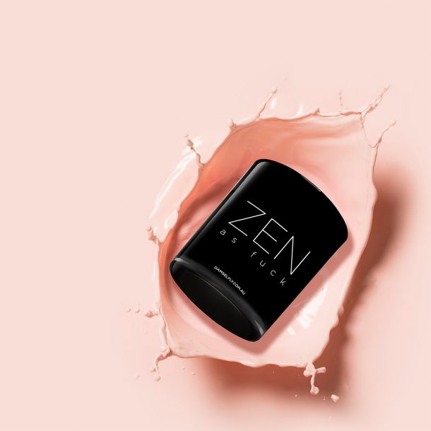 Zen As Fuck black Damselfly Candle dropped in pink paint