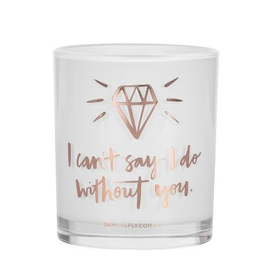 I can't say I do without you Damselfly Candle front view