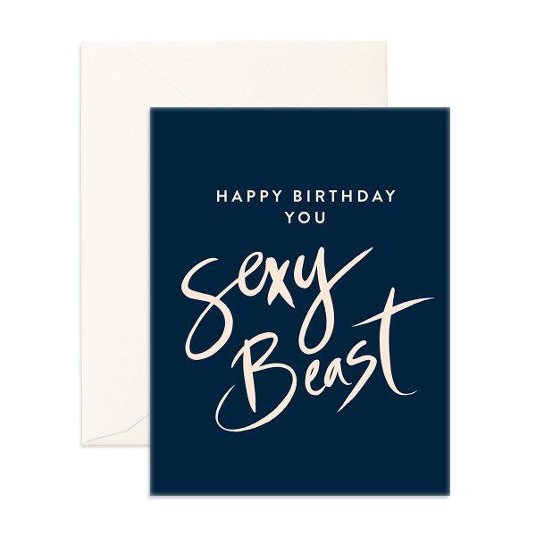 dark blue Happy Birthday You Sexy Beast Greeting Card