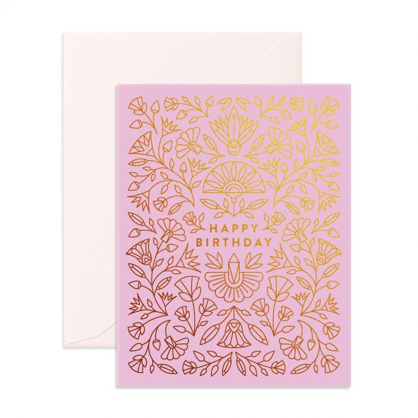 Egyptian Birthday Greeting Card with beautiful gold foil pattern