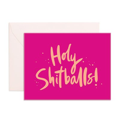 hot pink gift card with Holy Shitballs written in gold on the front