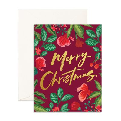 Merry Christmas Floral Greeting Card
