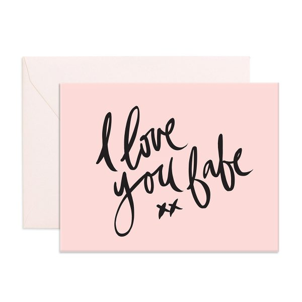 pink card with 'I Love You Babe' written in black