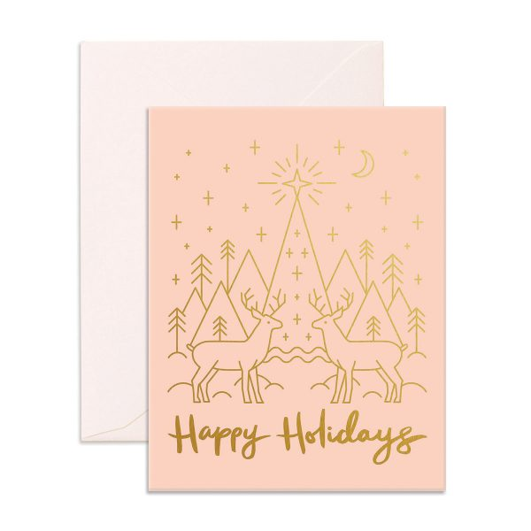 gift card with two Reindeers and a tree on the front Greeting Card