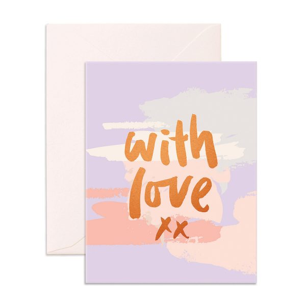 purple Greeting Card with 'with love' in gold on the front