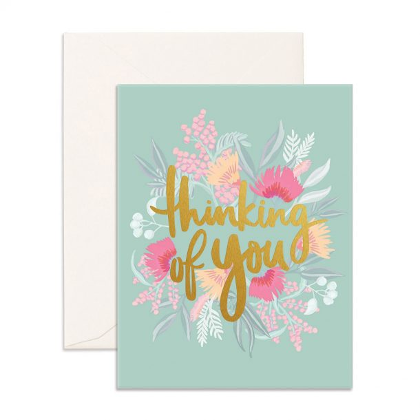 blue Thinking Of You Greeting Card with native flowers