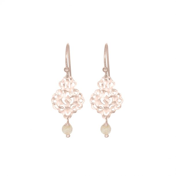 NICOLE FENDEL Rose Gold Rosabel Gemstone Beaded Earrings