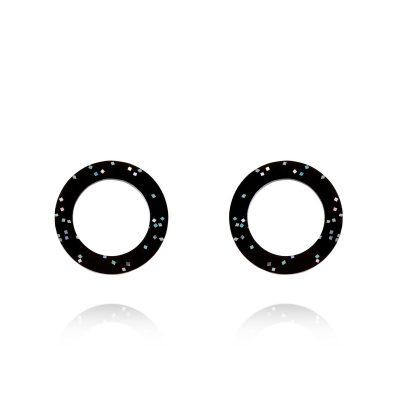 Lady Fox Black Glitter Eclipse Earrings