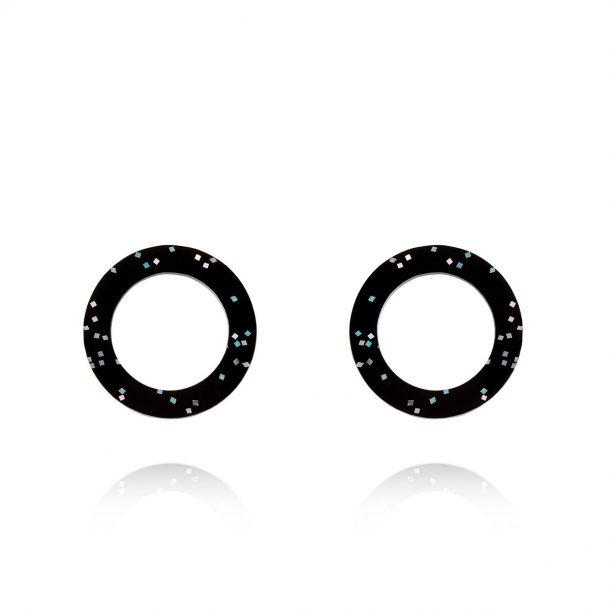 Lady Fox Black Glitter Eclipse Earrings