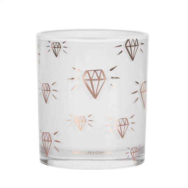 DAMSELFLY // Rose Gold Diamond Print. Damselfly Candle