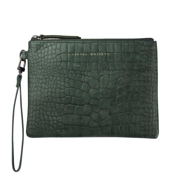 Status Anxiety Teal Croc Embossed Fixation Clutch