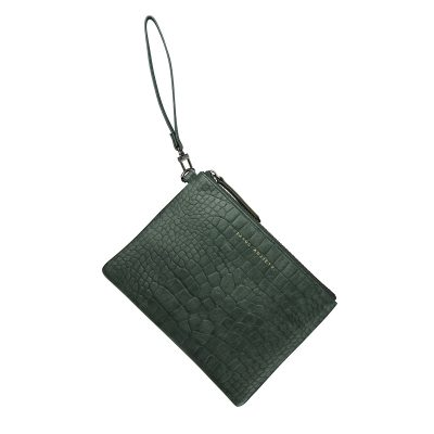 STATUS ANXIETY // Status Anxiety Teal Croc Embossed Fixation Clutch