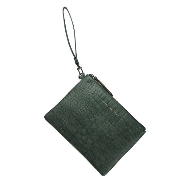 STATUS ANXIETY Status Anxiety Teal Croc Embossed Fixation Clutch