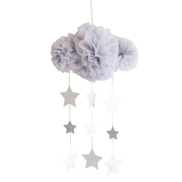 ALIMROSE Alimrose Mist and Silver Tulle Cloud Mobile