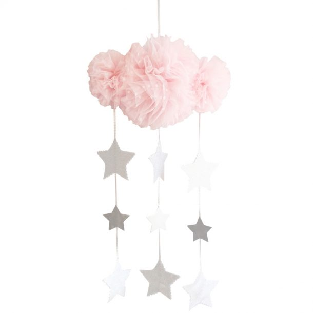 Alimrose Pink and Silver Tulle Cloud Mobile