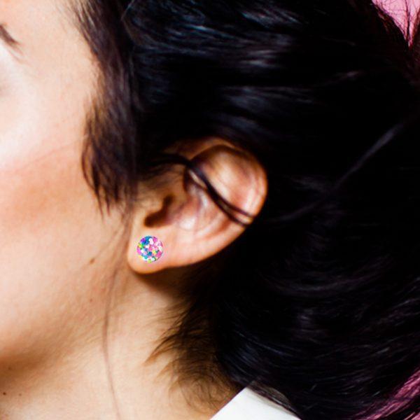 BEHIND THE DOOR Birthday Barbie Glass Stud Earrings