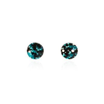 BEHIND THE DOOR // Metallic Blue Glitter Glass Stud Earrings