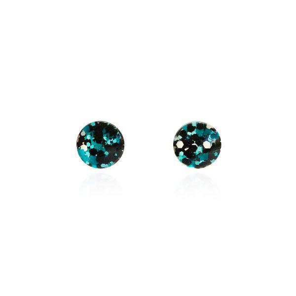 BEHIND THE DOOR Metallic Blue Glitter Glass Stud Earrings