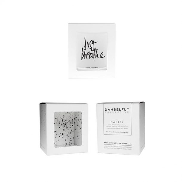DAMSELFLY Just Breathe. Damselfly Candle in box
