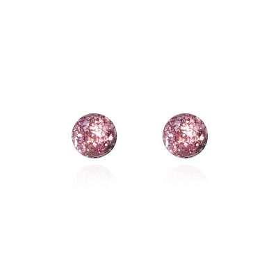 BEHIND THE DOOR // Vintage Pink Glitter Glass Stud Earrings