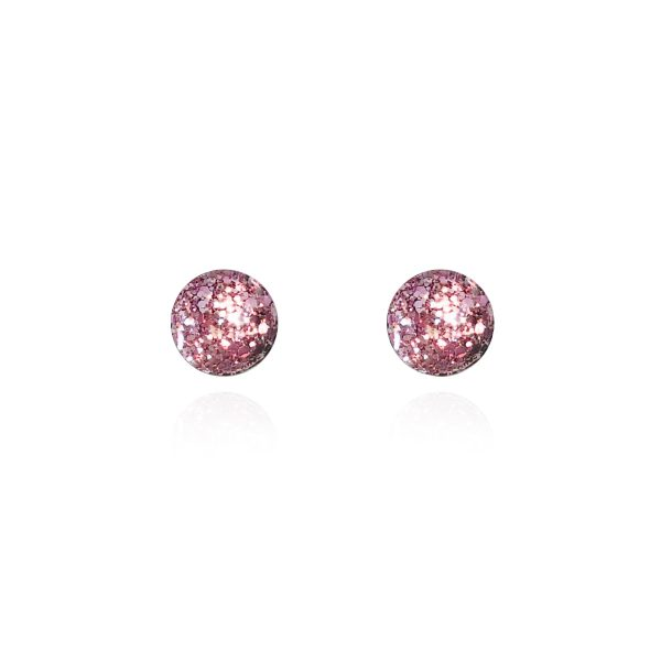 BEHIND THE DOOR Vintage Pink Glitter Glass Stud Earrings