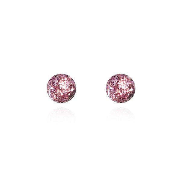 BEHIND THE DOOR Vintage Pink Glitter Glass Stud Earrings