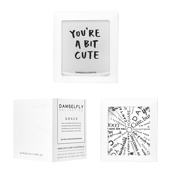 You're A Bit Cute. Damselfly Extra Large Candle