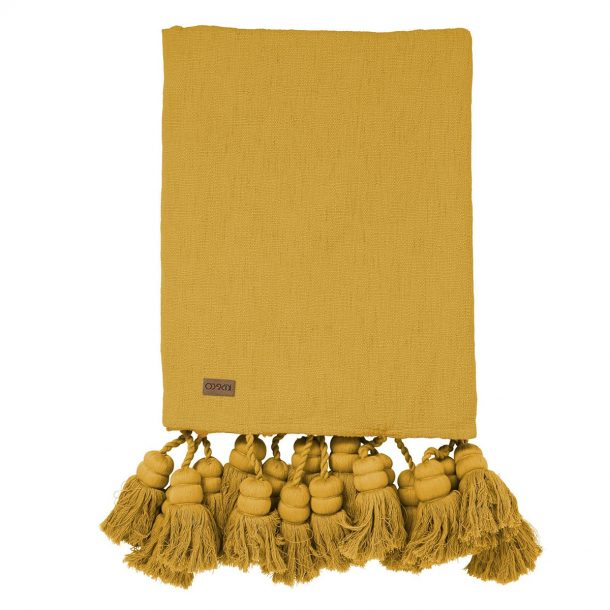 KIPANDCO Kip&Co Mustard Tassel Throw