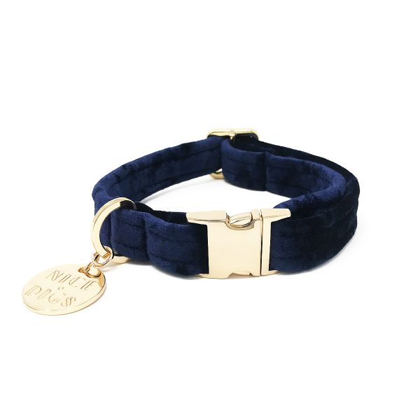 NICEDIGS Midnight Blue Plush Velvet Dog Collar