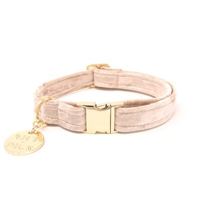 NICEDIGS Peach Plush Velvet Dog Collar