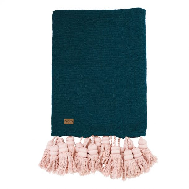 KIPANDCO Kip&Co Deep Teal Tassel Throw