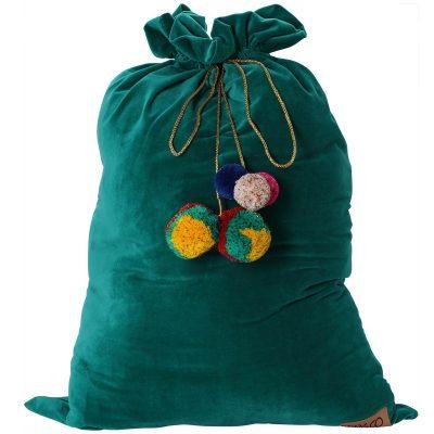Kip&Co Deep Green Velvet Santa Sack