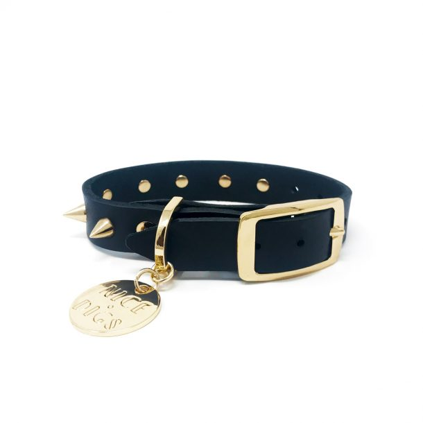 NICE DIGS Gold Spike Noir Leather Dog Collar