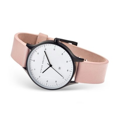 STATUS ANXIETY Blush Pink + Matte Black Inertia Unisex Watch