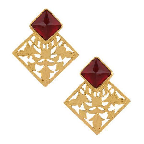 LAZURAH Red Shanti Statement Earrings