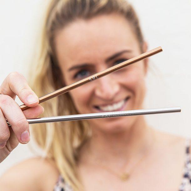 Reusable Metallic Straw Kit close up