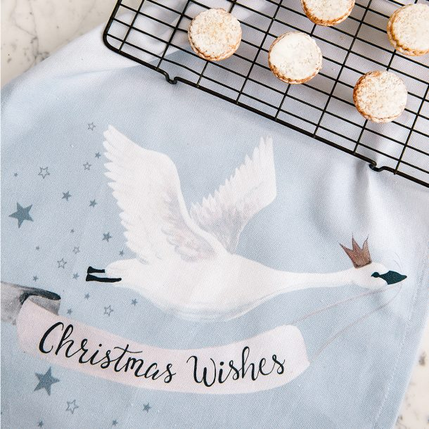 DOWN TO THE WOODS Christmas Wishes Royal Swan Tea Towel