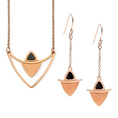 PASTICHE // Rose Gold Lustrous Earrings and Necklace Set