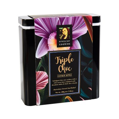 BYRON BAY COOKIE CO. Triple Choc Fudge Cookie Bites Gift Tin
