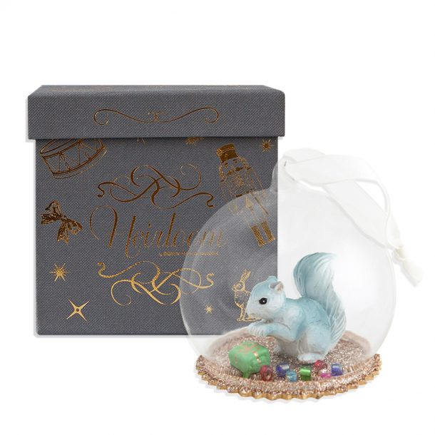 DOWN TO THE WOODS Heirloom Secret Squirrel Christmas Dome