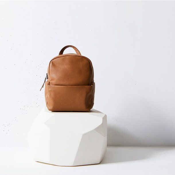 Status Anxiety Tan Backpack styled shot