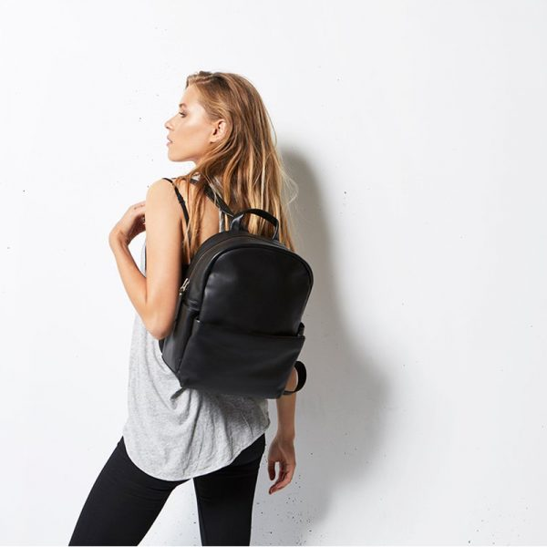 model wearing Status Anxiety Black Bubble Backpack